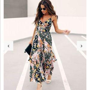 Vici patchwork floral statement maxi dress
